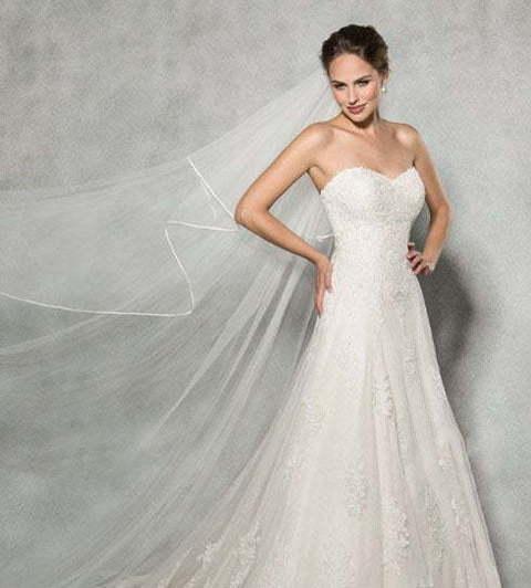 08c2f7941 Кремовое свадебное платье с кружевом не сильно пышное 7863. Силуэт  А-силуэт. Цвет